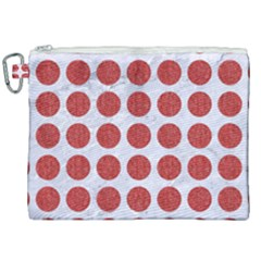 Circles1 White Marble & Red Denim (r) Canvas Cosmetic Bag (xxl)