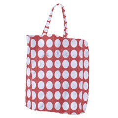 Circles1 White Marble & Red Denim Giant Grocery Zipper Tote