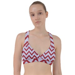 Chevron9 White Marble & Red Denim (r) Sweetheart Sports Bra