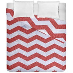 Chevron3 White Marble & Red Denim Duvet Cover Double Side (california King Size) by trendistuff