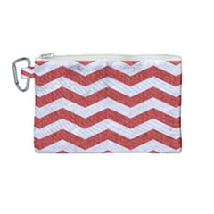 Chevron3 White Marble & Red Denim Canvas Cosmetic Bag (medium) by trendistuff
