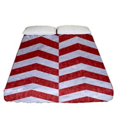 Chevron2 White Marble & Red Denim Fitted Sheet (queen Size) by trendistuff