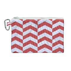 Chevron2 White Marble & Red Denim Canvas Cosmetic Bag (large)