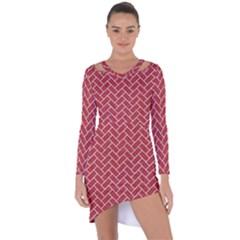 Brick2 White Marble & Red Denim Asymmetric Cut Out Shift Dress