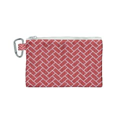 Brick2 White Marble & Red Denim Canvas Cosmetic Bag (small)