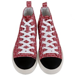 Brick1 White Marble & Red Denim Men s Mid Top Canvas Sneakers