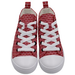 Brick1 White Marble & Red Denim Kid s Mid Top Canvas Sneakers