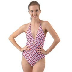 Woven2 White Marble & Red Colored Pencil (r) Halter Cut Out One Piece Swimsuit by trendistuff