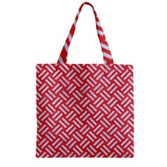 Woven2 White Marble & Red Colored Pencil Zipper Grocery Tote Bag by trendistuff