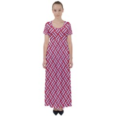 Woven2 White Marble & Red Colored Pencil High Waist Short Sleeve Maxi Dress