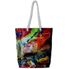 Untitled Red And Blue 3 Full Print Rope Handle Tote (small)