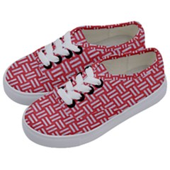 Woven1 White Marble & Red Colored Pencil Kids  Classic Low Top Sneakers by trendistuff