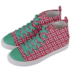 Woven1 White Marble & Red Colored Pencil Women s Mid Top Canvas Sneakers by trendistuff