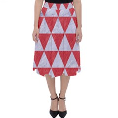 Triangle3 White Marble & Red Colored Pencil Folding Skater Skirt