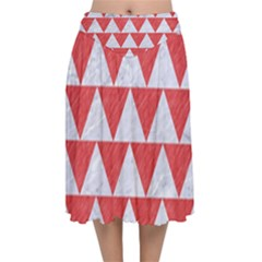 Triangle2 White Marble & Red Colored Pencil Velvet Flared Midi Skirt