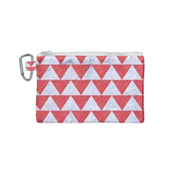 Triangle2 White Marble & Red Colored Pencil Canvas Cosmetic Bag (small)