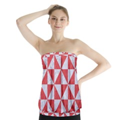 Triangle1 White Marble & Red Colored Pencil Strapless Top