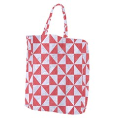Triangle1 White Marble & Red Colored Pencil Giant Grocery Zipper Tote
