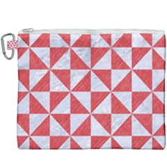 Triangle1 White Marble & Red Colored Pencil Canvas Cosmetic Bag (xxxl)