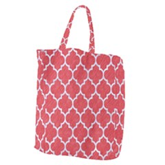 Tile1 White Marble & Red Colored Pencil Giant Grocery Zipper Tote