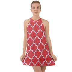 Tile1 White Marble & Red Colored Pencil Halter Tie Back Chiffon Dress