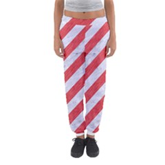 Stripes3 White Marble & Red Colored Pencil (r) Women s Jogger Sweatpants by trendistuff