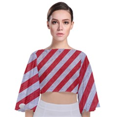 Stripes3 White Marble & Red Colored Pencil (r) Tie Back Butterfly Sleeve Chiffon Top