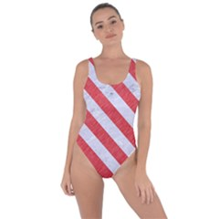 Stripes3 White Marble & Red Colored Pencil Bring Sexy Back Swimsuit