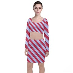 Stripes3 White Marble & Red Colored Pencil Long Sleeve Crop Top & Bodycon Skirt Set