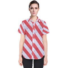 Stripes3 White Marble & Red Colored Pencil Women s Short Sleeve Shirt