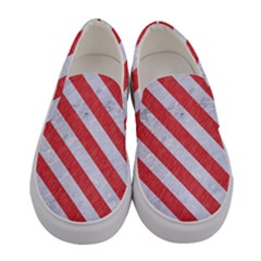 Stripes3 White Marble & Red Colored Pencil Women s Canvas Slip Ons