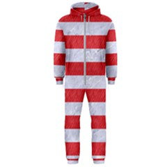 Stripes2white Marble & Red Colored Pencil Hooded Jumpsuit (men)