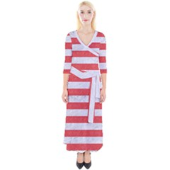 Stripes2white Marble & Red Colored Pencil Quarter Sleeve Wrap Maxi Dress
