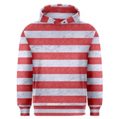 Stripes2white Marble & Red Colored Pencil Men s Overhead Hoodie
