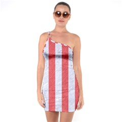 Stripes1 White Marble & Red Colored Pencil One Soulder Bodycon Dress