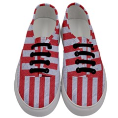 Stripes1 White Marble & Red Colored Pencil Men s Classic Low Top Sneakers