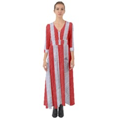 Stripes1 White Marble & Red Colored Pencil Button Up Boho Maxi Dress