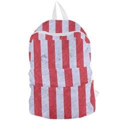 Stripes1 White Marble & Red Colored Pencil Foldable Lightweight Backpack