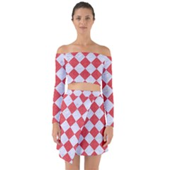 Square2 White Marble & Red Colored Pencil Off Shoulder Top With Skirt Set
