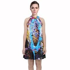 New   Well Forgotten Old 13 Velvet Halter Neckline Dress