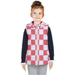 Square1 White Marble & Red Colored Pencil Kid s Hooded Puffer Vest