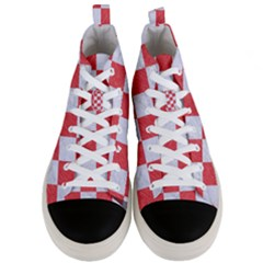 Square1 White Marble & Red Colored Pencil Men s Mid Top Canvas Sneakers