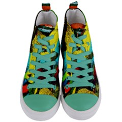 Yellow Dolphins   Blue Lagoon 3 Women s Mid Top Canvas Sneakers