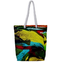 Yellow Dolphins   Blue Lagoon 3 Full Print Rope Handle Tote (small)