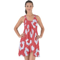 Skin5 White Marble & Red Colored Pencil (r) Show Some Back Chiffon Dress