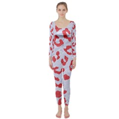 Skin5 White Marble & Red Colored Pencil Long Sleeve Catsuit