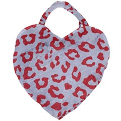 Skin5 White Marble & Red Colored Pencil Giant Heart Shaped Tote