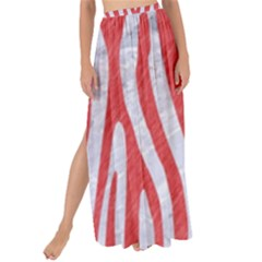 Skin4 White Marble & Red Colored Pencil Maxi Chiffon Tie Up Sarong