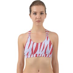 Skin3 White Marble & Red Colored Pencil (r) Back Web Sports Bra