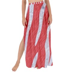 Skin3 White Marble & Red Colored Pencil Maxi Chiffon Tie Up Sarong